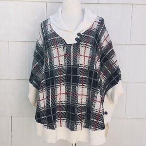 NWT Talbots Plaid Sweater Poncho